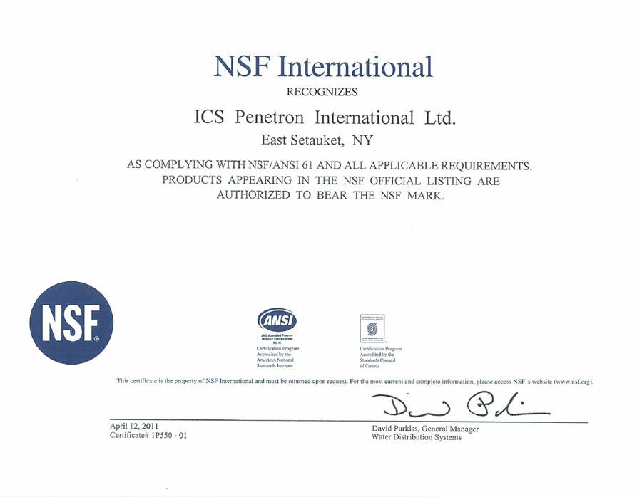 NSF Certificate 2011