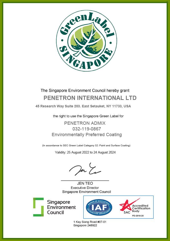 Singapore Green Label - PENETRON ADMIX
