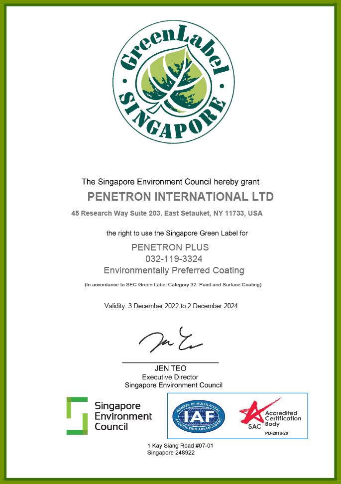 Singapore Green Label - PENETRON PLUS